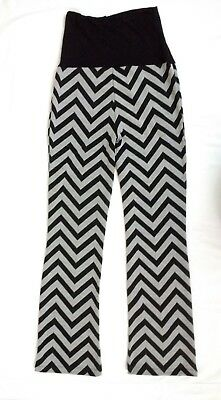 Chevron Stripe Maternity Pregnancy Over Bump Loose Fit Trousers Jersey Striped