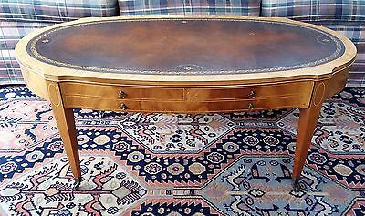 Weiman Hollywood Regency Leather Top Flamed Mahogany Coffee Table on Casters