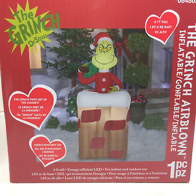 Grinch In Chimney Airblown Inflatable Pops Out Of Chimney 6 Ft Tall Lighted New