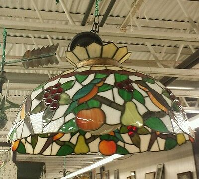 Beautiful Huge Antique Slag Stained Glass Jeweled Tiffany Ceiling Light