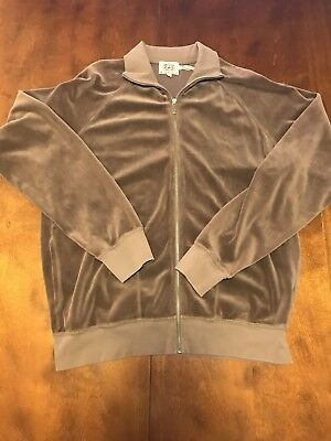 Juicy Couture Womens XL Brown Velour Full Zip Fleece Pre Owned Collar Tall