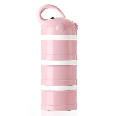Baby Milk Powder Container Portable Formula Dispenser Snack Pink (3 Compartment)