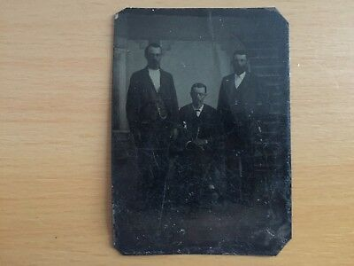VINTAGE OCCUPATIONAL WORKERS GROUP? Tintype of Three Men Wearing Leather Gloves