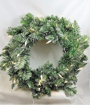 """SILVER & GREEN TINSEL 24"""" Christmas WREATH with Clear Mini Lights NEW  Sparkles"""