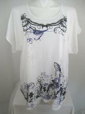 Cacique by Lane Bryant Size 26/28 White Silk Screened Border Print Sleep Top
