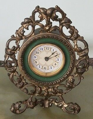 Antique Cast Iron Shelf / Mantle Clock Brass Finish (3) Footed