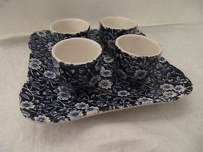 Burleigh Ware Blue & White Calico Egg Cups & Stand
