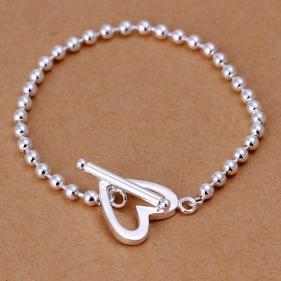 Wholesale Fashion 925Sterling Solid Silver Jewelry Heart Beads Bracelet H173