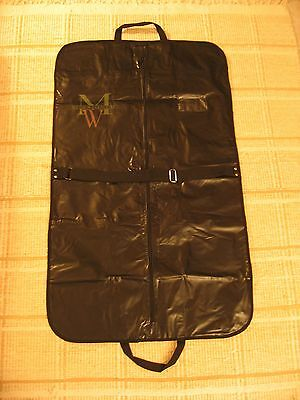 Suit Carrier Travel Garment Dress Cover Zippered Carry Black Vinyl Bag