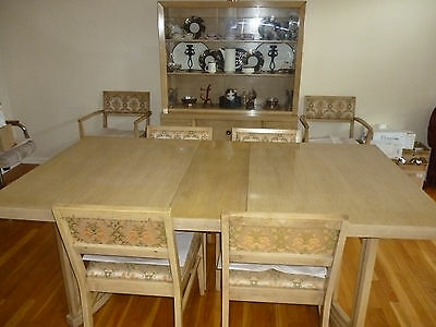 Mid Century Blonde Mahogany Dining Room Set Table Chairs Breakfront Buffet +Pads