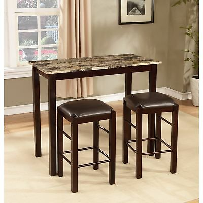 3 Piece Bar Pub Table Dining Set Counter Height Table Chair Marble Top  Espresso