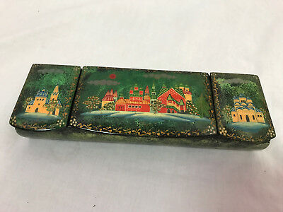 Vintage Wooden Enameled Painted 3-Section Trinket Box, Green with Castle Scene
