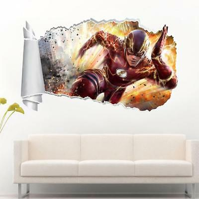 The Flash Marvel 3D Torn Hole Ripped Wall Sticker Decal Decor Art Mural WT426