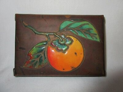 Unusual Antique  Arts & Crafts Copper Enameled with a PEACH Box 1910 - 1915
