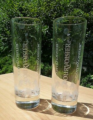 Courvoisier Tall Glasses  Set of Two (2) UNUSED Highball Cocktail France Cognac