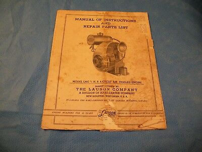 Lauson model LMC 3/4 H.P. 4 Cycle Air Cooled EngineInstructi & Repair Parts List