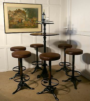 19th Century Gueridon Table and 6 High Stools