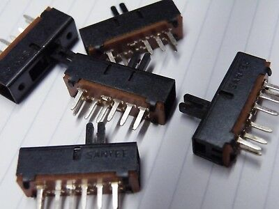 5 Pcs  Miniature 3 position Slide Switch 3PDT Model Railway Hobby SSW23PC CM04