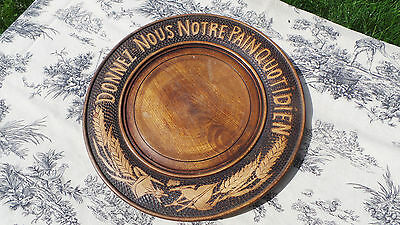 Solid Wood Vintage French Bread Serving Board Hand Made Board Traditional Motto