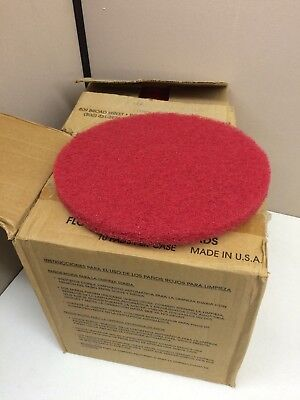 "LOT of 19 Glit 13"" Red Buffing Floor Maintenance Buffer Pad 9950081"