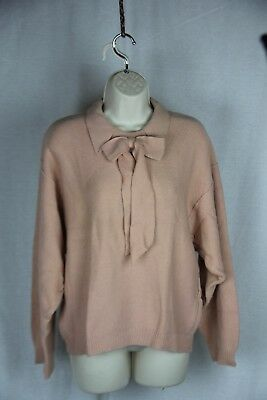 Vintage Sonia Rykiel made in Italy Pink long sleeve sweater with collar bow 34