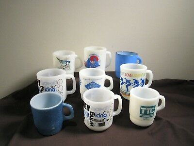Lot of 9 blue & white milk glass vintage coffee mugs Fire King Glasbake etc