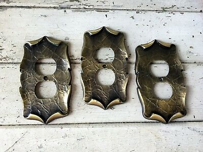 3 Vintage, Amerock Carriage House, Outlet Cover Plates, Brass, 9082-1