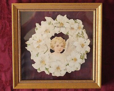 Rare 1800's Framed Easter Card by Maud Humphrey Bogart  Poem by Lucy Larcom