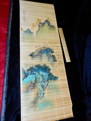 Vtg Oriental Scroll / Wall Hanging Hand Painted Mountain Scene on Bamboo Slats
