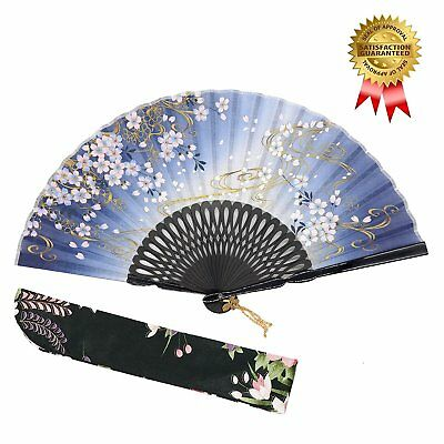 "OMyTea ""Sakura Wind"" Folding Hand Held Silk Fans for Women - With a Fabric for -"