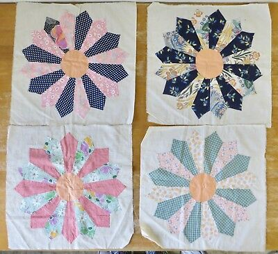 Lot of 12 Vintage Dresden Quilt Blocks Plus Cut Fabric Pieces / Hand Stitched
