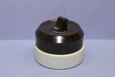 Lot of 4 Vintage Bryant Brown Bakelite/White Porcelain Round Toggle Light Switch