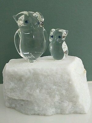 VINTAGE 1980s Victor Trabucco 2 Crystal Owls on Granite Paperweight PERFECT!!!