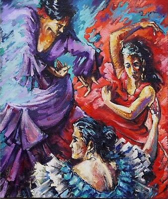 Spanish Dancers, Authentic Oil Painting of Levon Tarverdi. One of a Kind