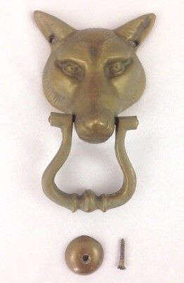 "VTG Antique Old Large Brass Wolf Coyote Fox Animal Front Door Knocker 7.5"" x 5"""