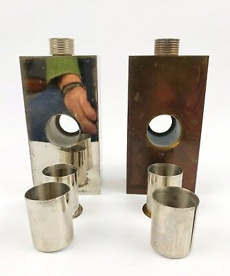 Vintage Pair of 13 oz German Tin Lined Flasks in Leather Case w/Hidden Shot Cups