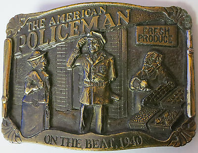 Vintage 1986 - The American Policeman on The Beat 1940 - Heavy Brass Belt Buckle