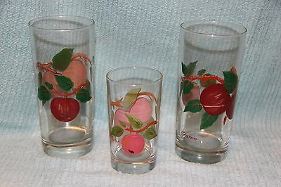 """Franciscan APPLE hand painted glass tumblers (2)  6-1/4"""" &  (1 ) 4 1/2 inch"""