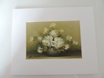 Bouquet of White Flowers, Matted, signed by Amy Autumn? (AW040)
