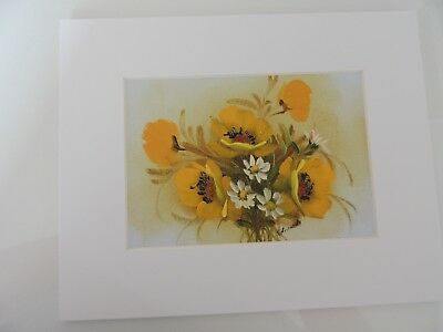 Bouquet of Yellow Flowers and White Daisies, Matted, signed by Edwards (AW033)
