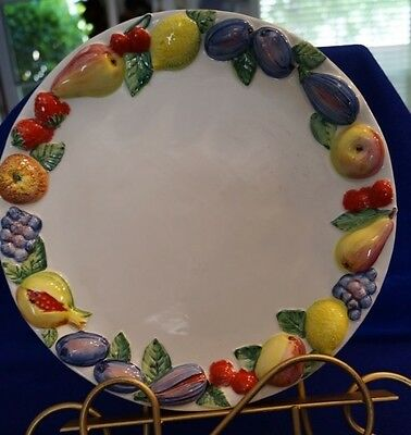 "Set Of 3 Handpainted Embossed Fruit 11"" Dinner Plates, Made In Italy"