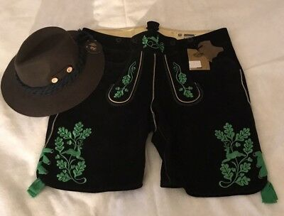 Men's German Meindl Leather Lederhosen & Wool Olive Hat *Brand New w Tags Sz 40