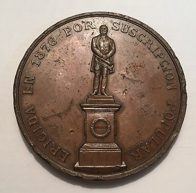 Chile Valparaiso Monument To Wheelright Bronze Medal 1876