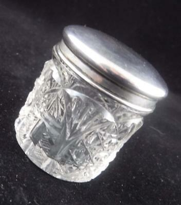 Rare Antique Heavy Cut Crystal Dresser Box with a Sterling Silver Lid