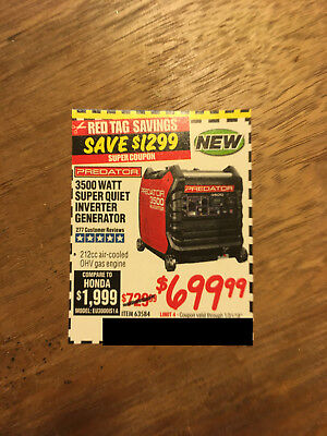 Coupon to save $ on 3500 Watt Quiet Inverter Generator @ Harbor Freight Tools