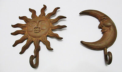 Set of 2 Cast Iron Wall Decor Sun & Moon Face w/ Removable Hanging Hooks Rustic