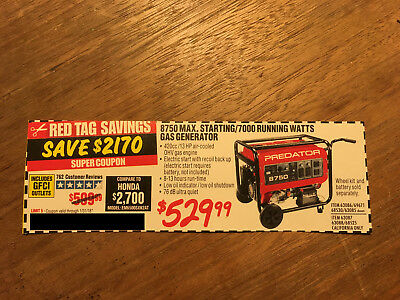 Coupon to save $ on 8750 7000 Watt 13 HP Gas Generators @ Harbor Freight Tools