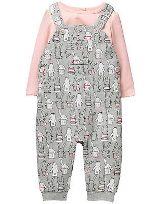 NWT Gymboree Fluffy Friends Bunny Rabbit Overalls Bodysuit Outfit 2PC Baby Girl