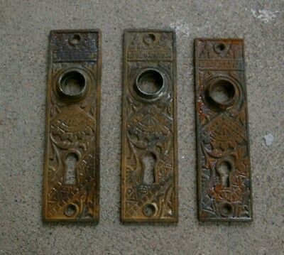 Set of THREE Matching Ornate Antique IRON DOOR PLATES Eastlake with Keyholes