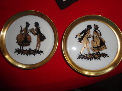 Furstenberg West Germany Two Black & Gold Sillouhette Decorative Wall Hangings